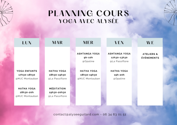 Plannings cours yoga Alysee Guitard